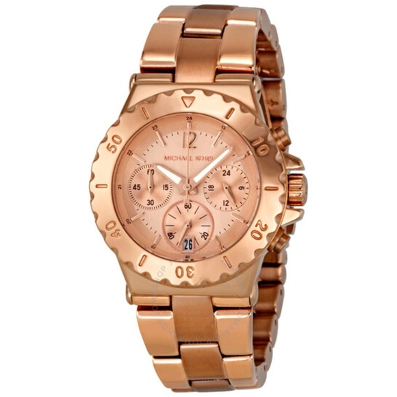 MICHAEL KORS~dylan~MARINER STYLE~ROSE-GOLD STAINLESS STEEL CHRONOGRAPH WATCH